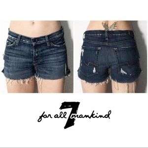 Distressed Low Rise Cut Off Denim Jean Shorts 27